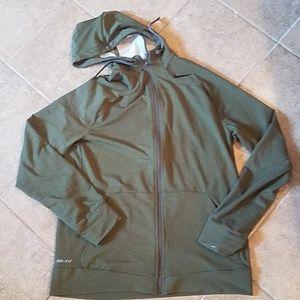 Nike Dri-Fit like new olive green hoodie